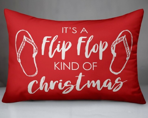 Red Coastal Beach Christmas Pillows