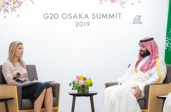 Queen Maxima wore Valentino Hawaiian long sleeve dress. The Queen Met with Crown Prince Muhammed bin Salman