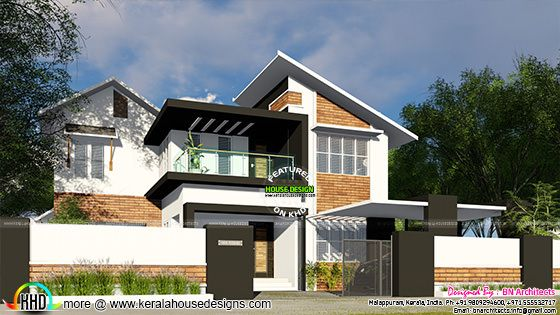 Slanting roof modern home