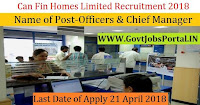 Can Fin Homes Limited Recruitment 2018– 12 Officers & Chief Manager