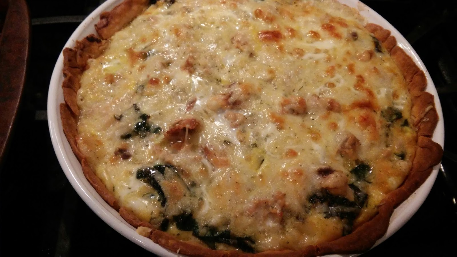 CT on a budget: Fish on Monday: salmon-Swiss chard quiche