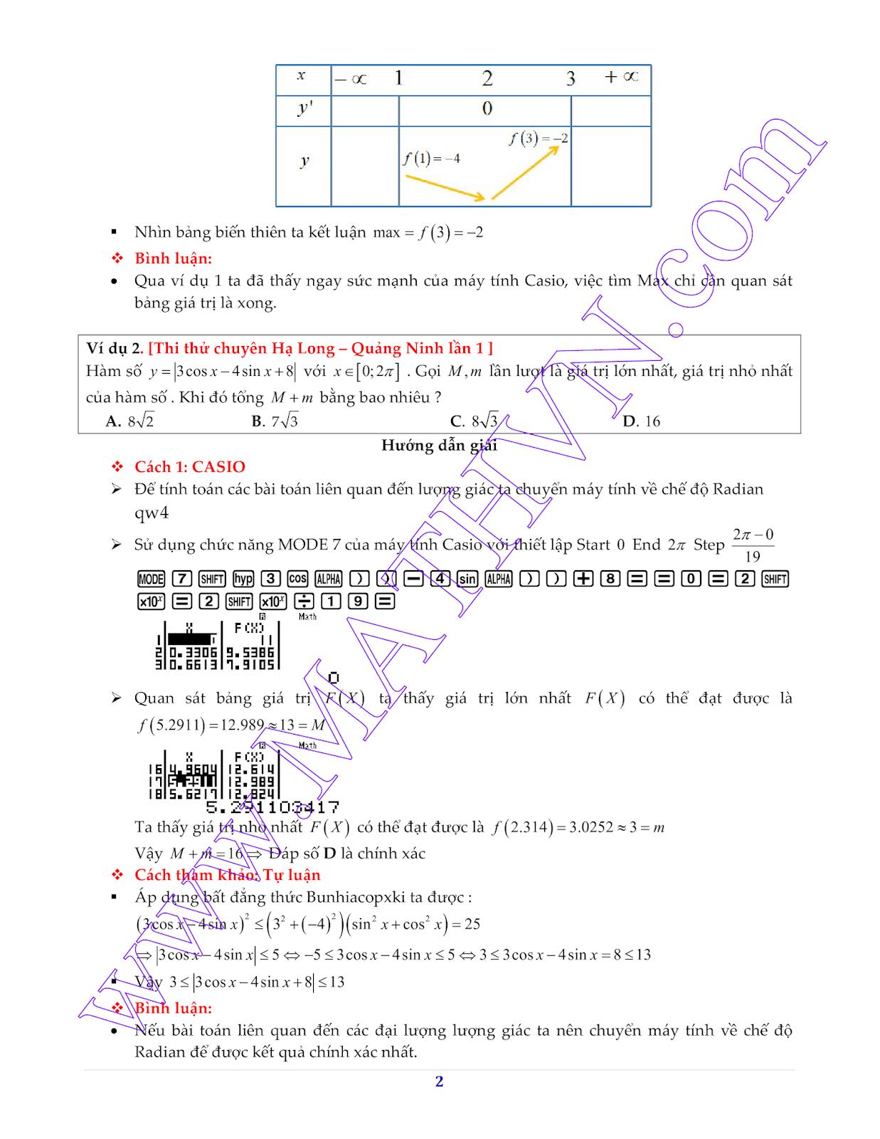 thủ thuật casio để tìm GTNN, GTLN của hàm số