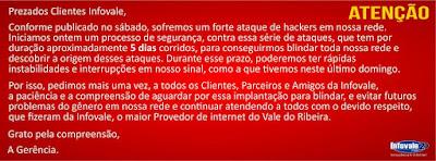 Nota da Infovale : Sobre os ataques de Hackers a sua rede