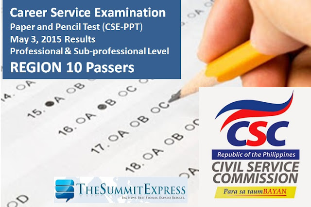 Region 10: Civil Service Exam Results May 2015 List of Passers