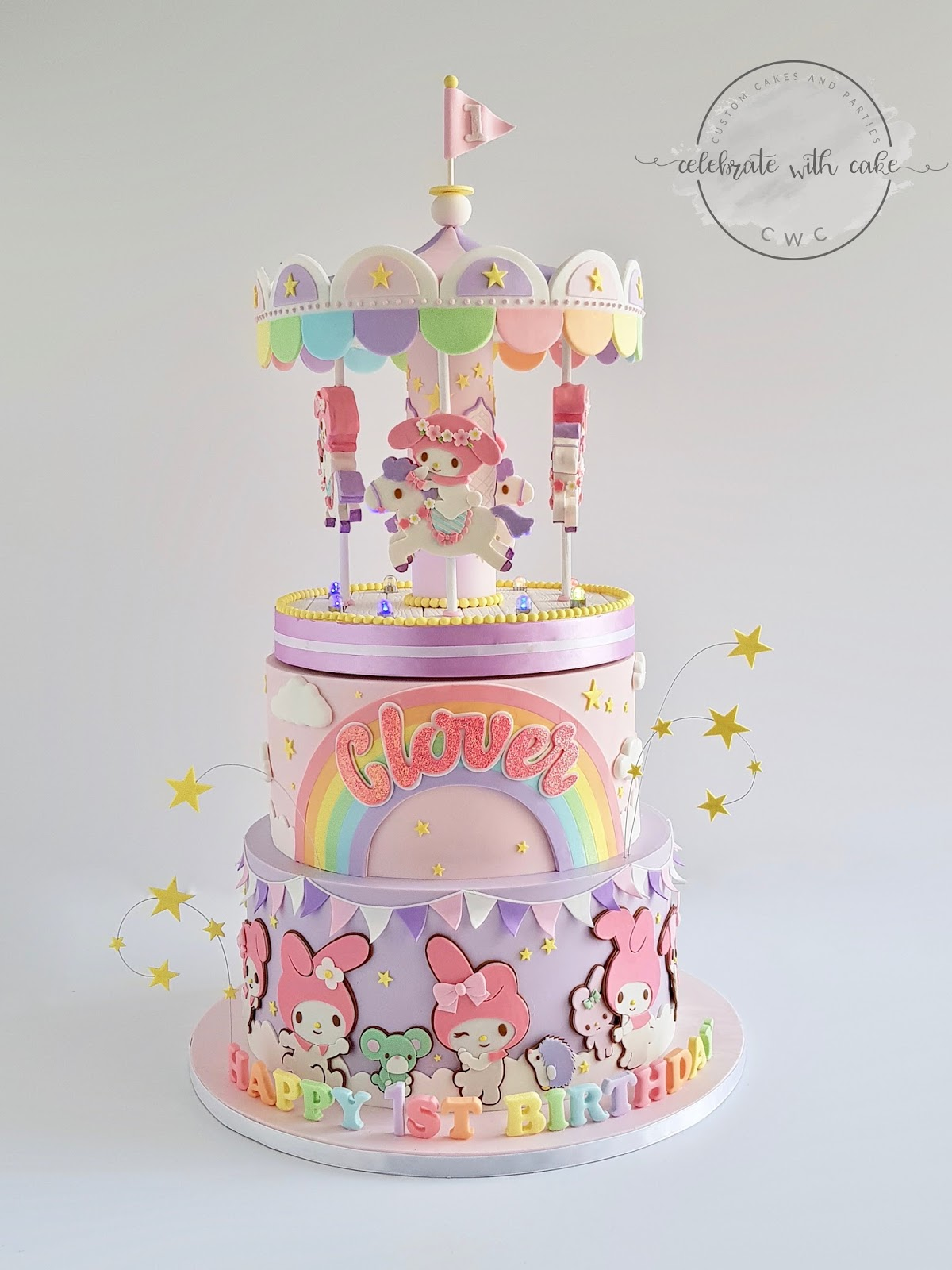Celebrate With Cake Pastel My Melody Rotating Carousel 1st Birthday