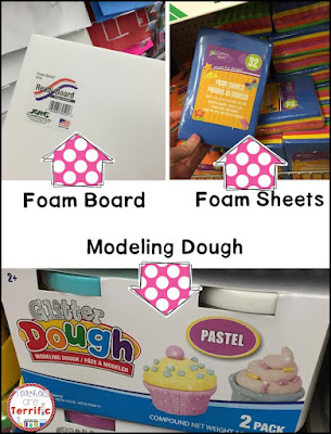 The Dollar Store: Did you know you can get foam board for $1 and foam sheets, and modeling dough!!
