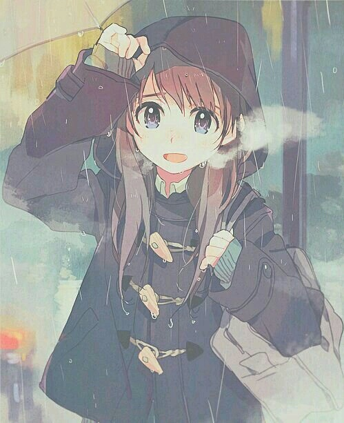 cute anime girl on rain profile dp for whatsapp