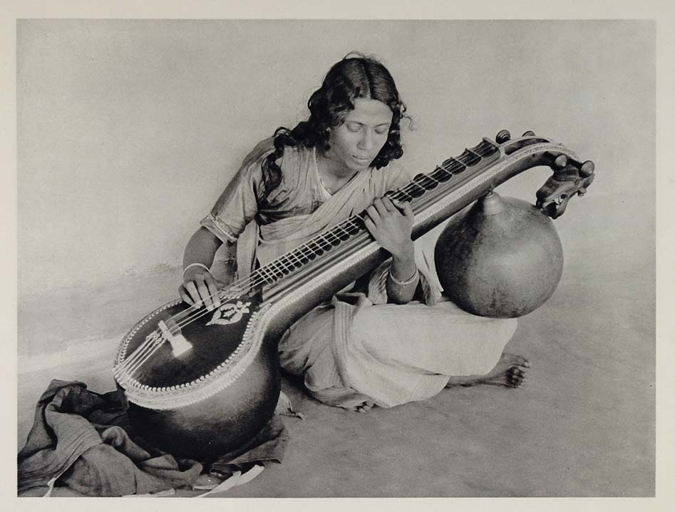 A Young Bengali Woman Playing a Saraswati veena - 1928