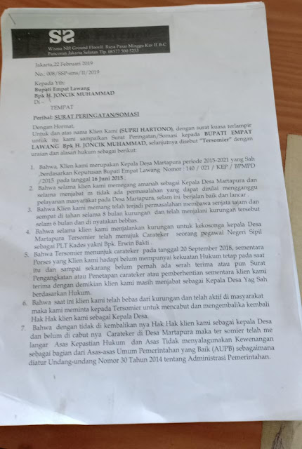 Penunjukan Plt Kades Martapura Disomasi