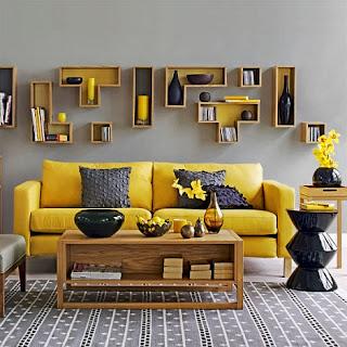 diseño de sala gris y amarillo
