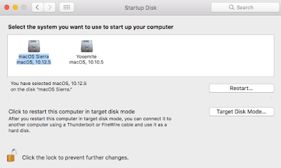 Setting default startup disk to macOS Sierra