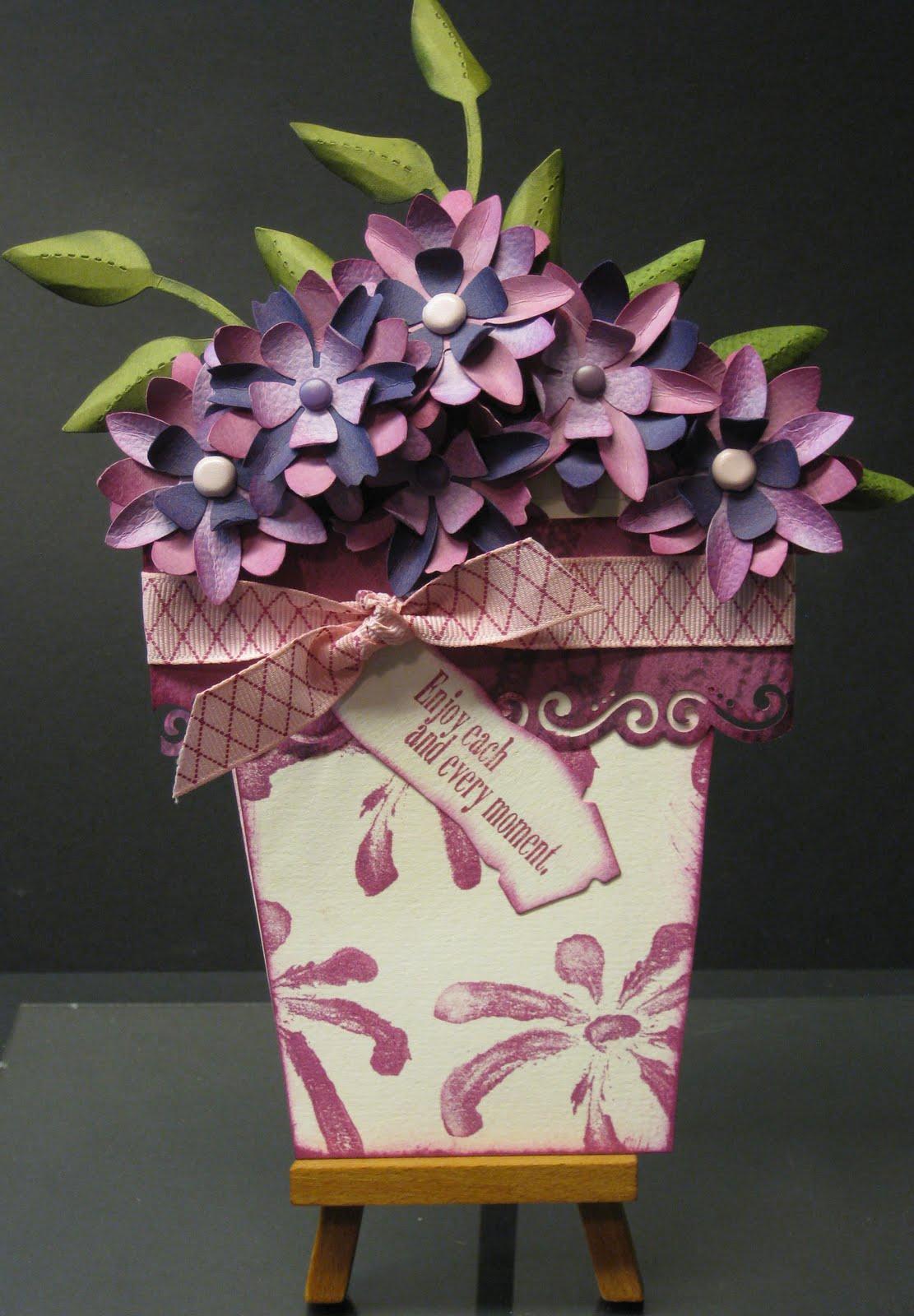debduzscrappin cards  flower pot purple version