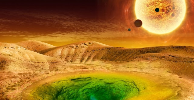 An artist's conception of what life could look like on the surface of a distant planet.NASA