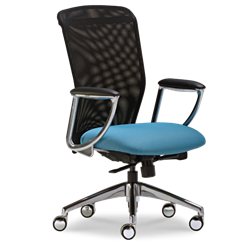 Black Mesh Office Chair with A Blue Fabric Seat