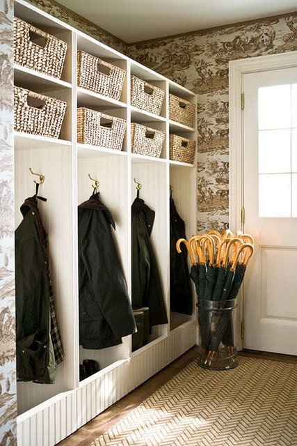 This Is A Really Great Mudroom Love The Brown And White Wallpaper Herringbone All Weather Rug Cubby Idea Charleigh Mims