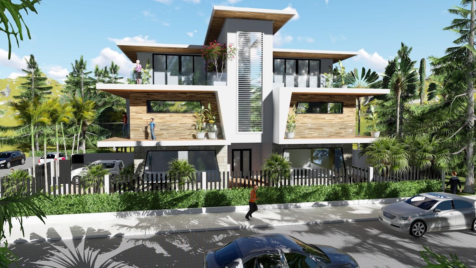 Sketchup modeling modern vila design 06 lumion render sam architect - Modern vila design ...