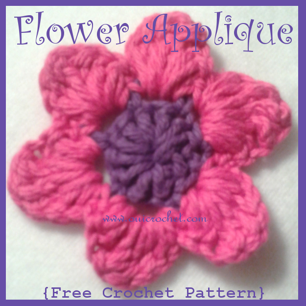 Crochet, Free Crochet Pattern, Crochet Applique, Crochet Flower Applique, Crochet Flowers, Crochet Patch,