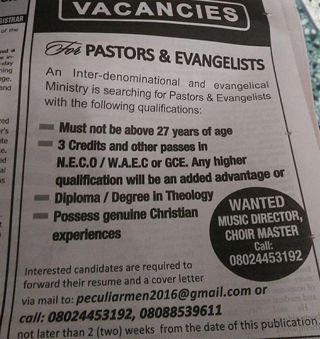 Weird? Nigerian church is hiring pastors