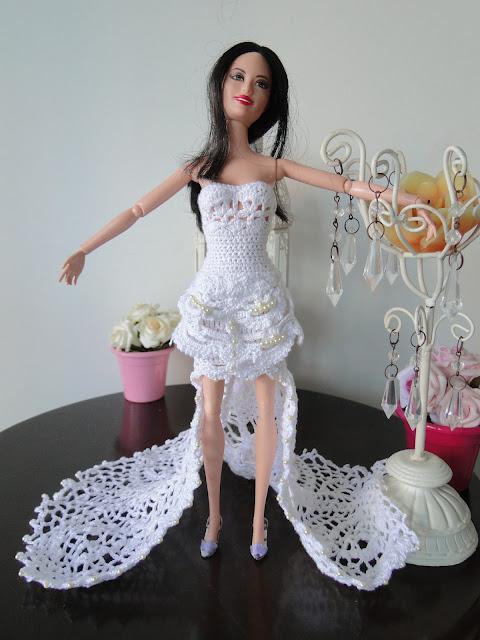Vestido de noiva de crochê para Barbie, por Pecunia MillioM
