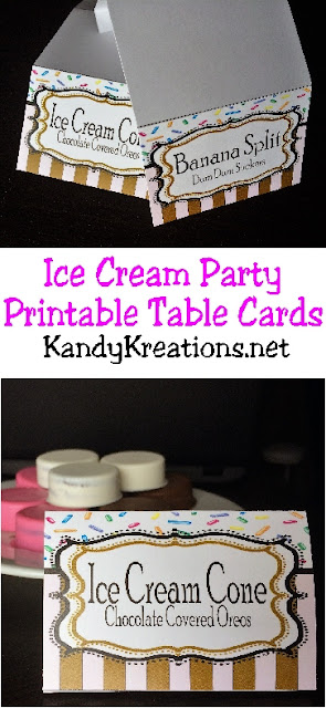 I need these Ice Cream party free printables.  It'll be so easy to WOW the guests with these fun and color table food cards.  After all, it's so much fun to make neat party food, but if no one knows what it is, the kids won't touch it.  I can use these to tell everyone what the party desserts are or to seat guests at each table as place card settings.