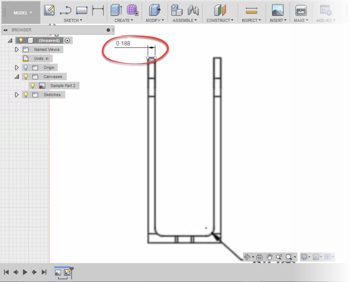 Using Attach Canvas in Fusion 360 to Find an Unknown