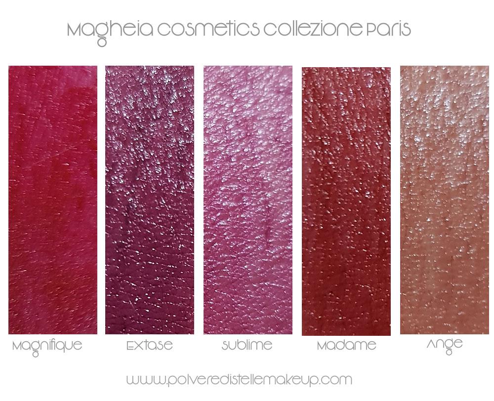 Swatches Magheia lipstick collezione Paris