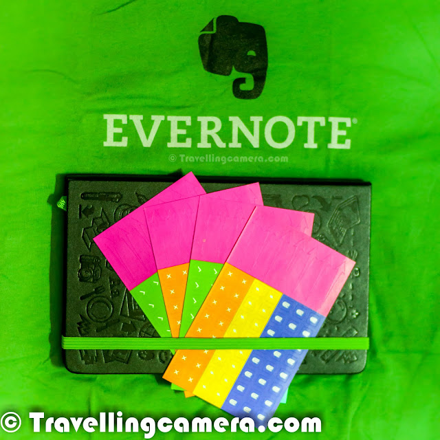 Last week, we got a pack from EVERNOTE and I was really excited to open it & explore the stuff inside it. On opening we found some cool stuff inside... A bright T-Shirt, a designer Diary with lovely cover on it, a bunch of colorful stickers & the most  amazing card which says that I own a premium Evernote account now.So I had heard a lot about Evernote but never used. Now I have installed it on my Android phone and Windows7 computer. As of now, trying simple things of keeping my notes synced between these machines and gradually will try out other solutions offered by Evernote. btw, don't miss that above photograph shows a card with Evernote Premium account details :)Evernote also gives an opportunity to work better in a team. We as a team can collaborate through Evernote. Apart from personal stuff, Evernote is also a good options for managing business related stuff. Rather I start talking about what all it offers, I would recommend you to check out - http://evernote.com/business/features/Evernote Premium offers 1GB of monthly upload capacity and an increased max note size of 100MB. Premium account on Evernote brings various other features along with some premium applications to deal with other media files. Searching stuff through Evernote makes life very easy as it seraches very fast through notes in text, PDF and graphics. Evernote has also sent a diary with some stickers which are helpful in mapping graphical details to searchable entities. Sounds very interesting.. and I am yet to explore the real power of this diary and the colorful stickers you see in these photographs.Within few days of Evernote fever, I got to know about Skitch which is another application by Evernote which helps in communicating with fewer words using annotations, shapes and stamps, so that your ideas become reality faster. Watch out a very interesting video which very well explains about Skitch - http://evernote.com/skitch/Penultimate is another application in which the original and easy to use handwriting app for iPad, combines the natural experience of pen and paper with the flexibility and syncing of Evernote. There are different types of paper styles are offered in premium subscription to solve different kinds of challenges with information flow.'Evernote Hello' helps in remembering people is hard. 'Evernote Hello' makes it easy by creating a rich, browsable history of individuals, meetings and shared experiences.Clearly makes blog posts, articles and webpages clean and easy to read. Save them to Evernote to access them anywhere. This is another application of premium suite by Evernote.So far I have been enjoying it and tracking has become very easy. Hopefully my productivity will increase with time :). I will share a detailed post on my experience of using Evernote and how it helps in organizing different types of tasks.