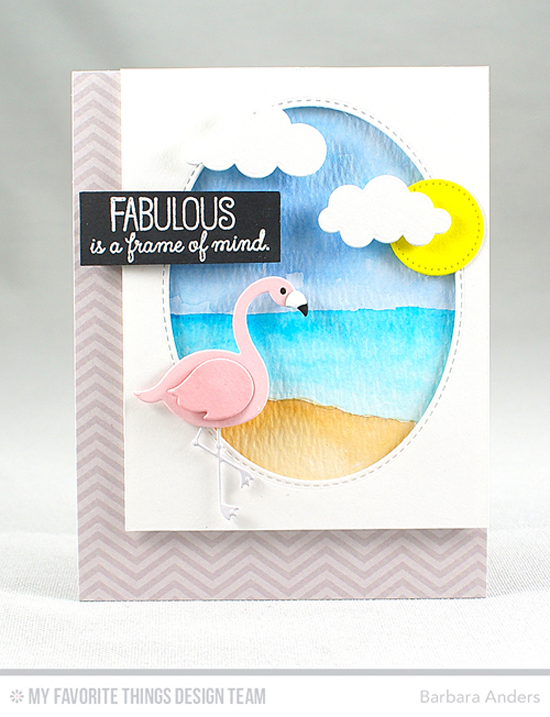 Handmade card from Barbara Anders featuring Laina Lamb Design Tickled Pink stamp set and Flamingoes Die-namics, Puffy Clouds, Inside & Out Stitched Oval STAX, and Blueprints 21 Die-namics,  #mftstamps
