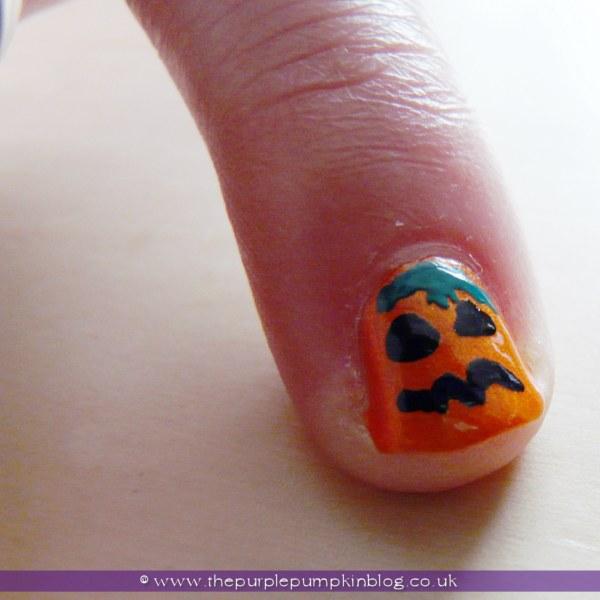Pumpkin Jack O'Lantern Nail Art for Halloween at The Purple Pumpkin Blog