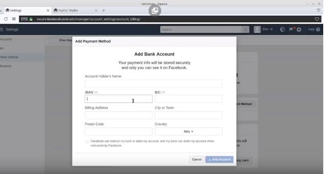 إضافة البنك كطريقة دفع على الفيسبوك