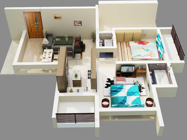 cozy and comfy small house floor plan design idea with modern living room decor