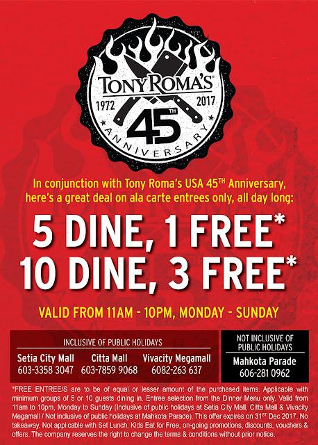 Tony Roma's Malaysia Free Entree