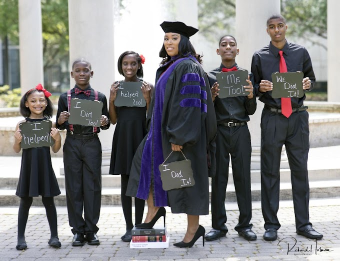 Single mother of 5 proudly poses with children in law school graduation photos: 'We did it'
