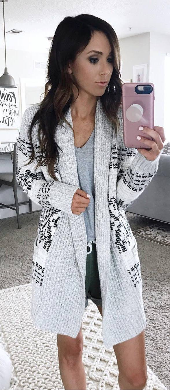 cute outfit / knit cardigan + grey top + shorts