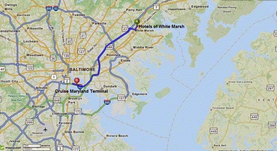 Hotels of White Marsh: Fairfield Inn White Marsh, Hampton Inn White Marsh, Hilton Garden Inn White Marsh are 17 min/15 miles from Cruise Maryland Terminal at Port of Baltimore