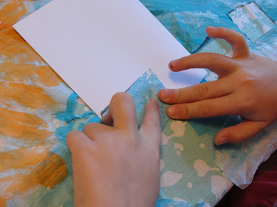 glue tissue paper on card