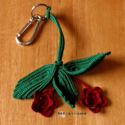 Irish Crochet Roses and Leaves Key Chain - Handmade By RSS Designs In Fiber