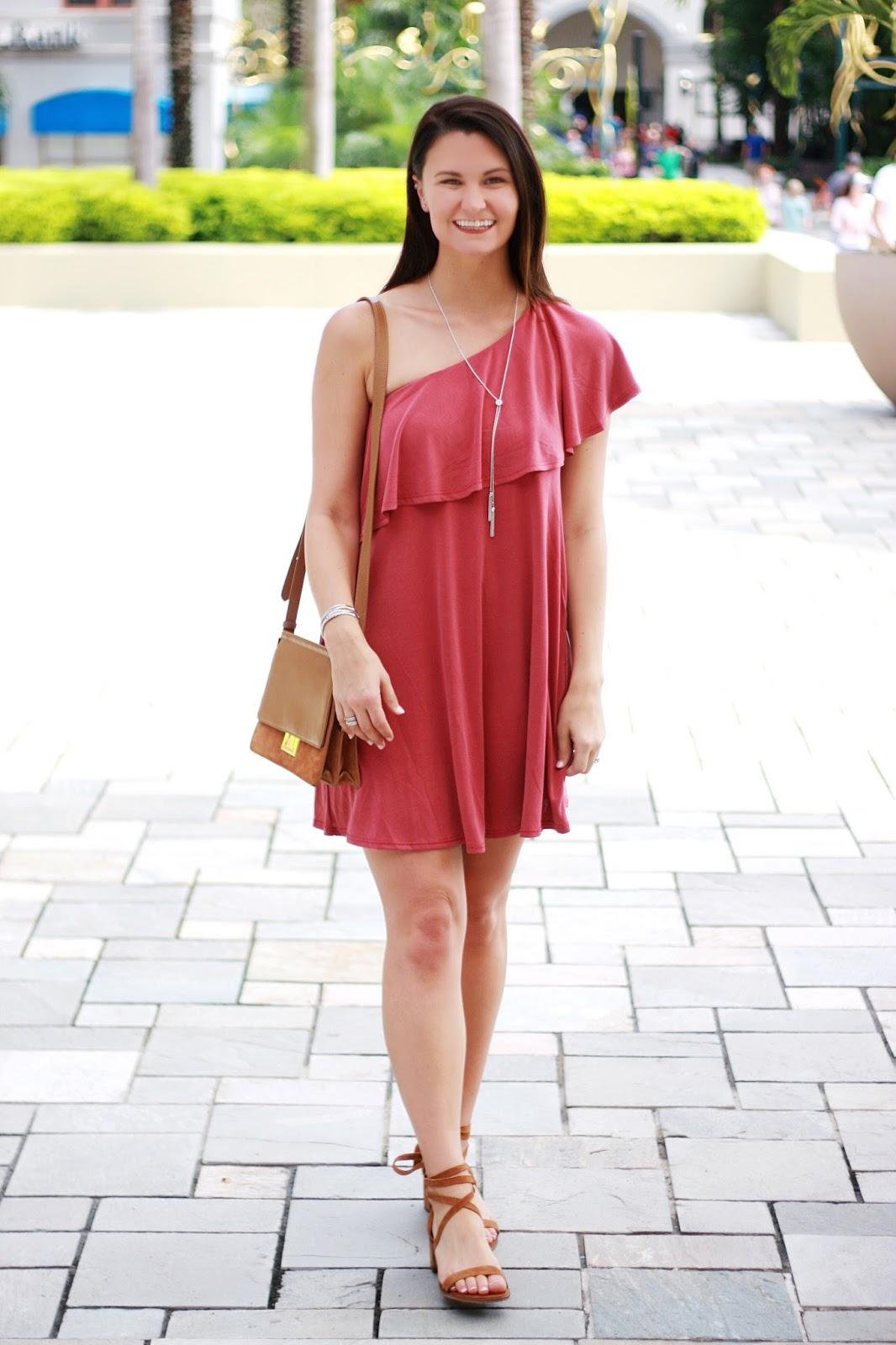 Necklace one shoulder dress
