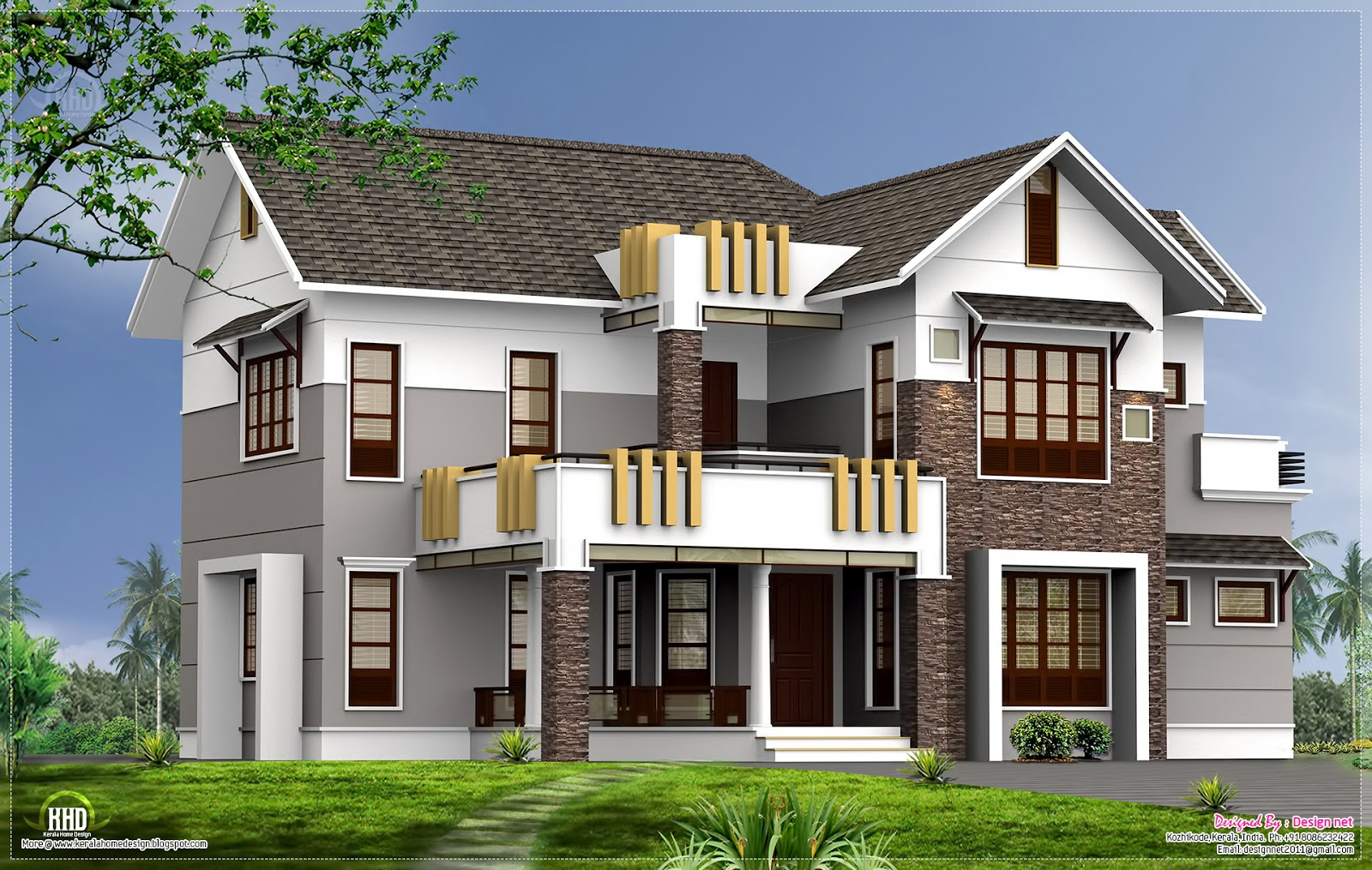 2400 contemporary home elevation home kerala plans for Kerala style home designs and elevations