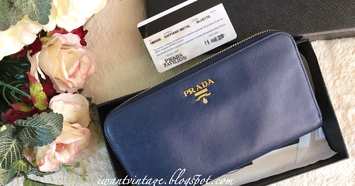 a5909dbc1f44 I Want Vintage | Vintage Designer Handbags: Prada 1M0506 Saffiano Zip  Around Wallet-Bluette