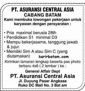 Lowongan Kerja PT. Asuransi Central Asia