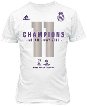 Camiseta Real Madrid conmemorativa campeones 11 Champions Undécima Copa de Europa Milán 2016 adidas