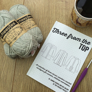 Three from the top book, hook and yarn