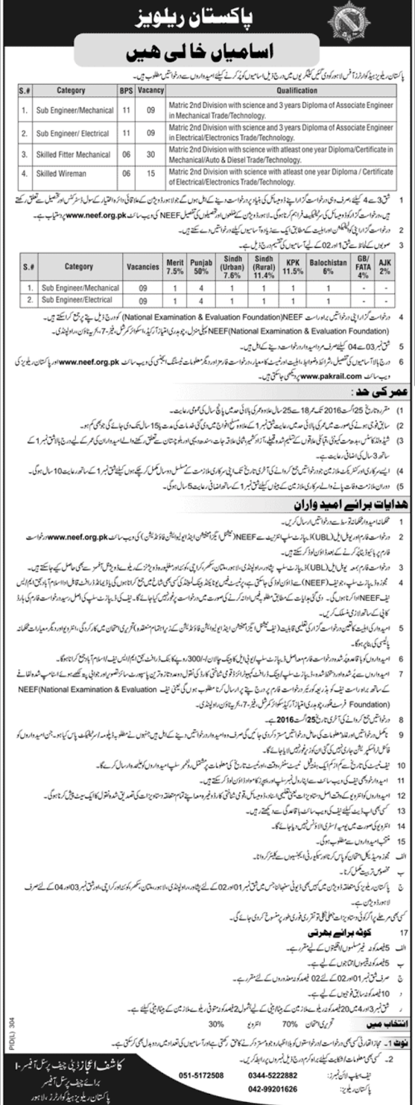 Government Jobs in Pakistan Railways Jobs 2016 through NEEF