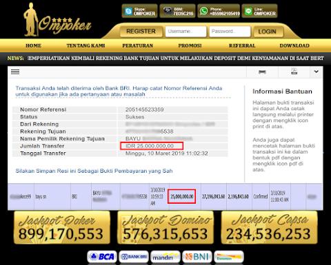 Selamat Kepada Member Setia Ompoker WD Rp 25.000.000