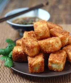 Fried tofu recipe with spices seasme seeds, white pepper, and red chili pepper