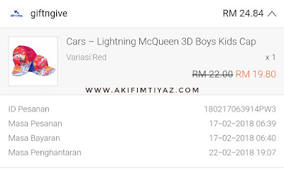 Shopee, Shopping Online , Akif Imtiyaz, Topi Baru Akif, Lifestyle Blogger, Coretan Hati Lya, Ini Cerita KakYa, Jom Shopping Online, Shopee Best, Topi Cars McQueen, Topi 3D