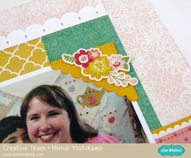 Echo Park Petticoats & Pinstripes Mother's Day Tea Layout by Mendi Yoshikawa (using cutting files by Lori Whitlock)