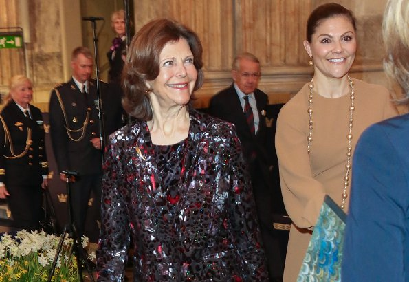 Crown Princess Victoria wore Gianvito Rossi Gianvito Leather Point Toe Pumps. King Carl Gustaf and Queen Silvia attend anniversary concert