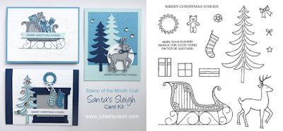 Stampin' Up! Santa's Sleigh Christmas Card kit for Stamp of the Month Club by Julie Davison www.juliedavison.com/clubs